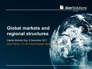 Global markets and regional structures - Aker Solutions