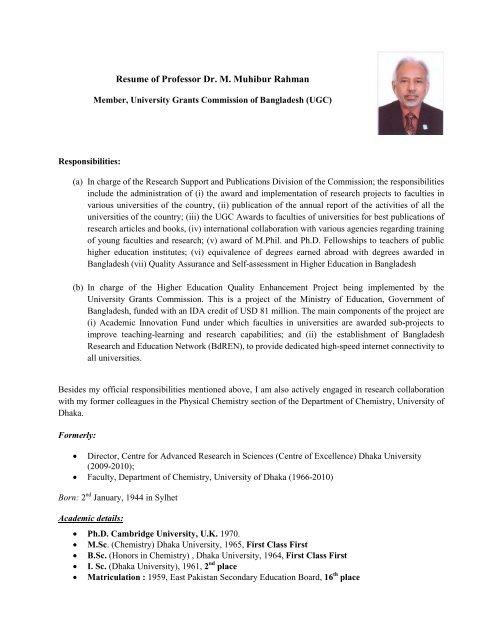4ec5319bc3637d Resume of Professor Dr. M. Muhibur Rahman - University Grants ...