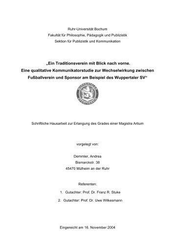 """""""Ein Traditionsverein mit Blick nach vorne. Eine qualitative - Archiv"""