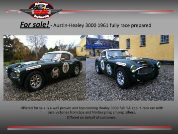 For sale!- Austin-Healey 3000 1961 fully race prepared