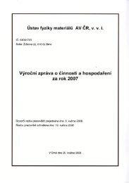 klikněte pro text zprávy v PDF (17,37 MB) - Ústav fyziky materiálů AV ...