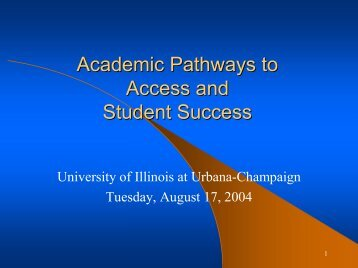 Academic Pathways to Access and Student Success - OCCRL