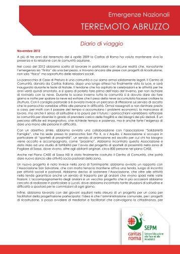 Aprile 2009. Terremoto Abruzzo - Caritas Roma