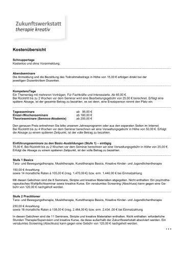 Kostenuebersicht NEU 2012-08-30 - Zukunftswerkstatt therapie kreativ