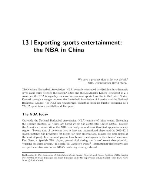 13 Exporting sports entertainment: the NBA in China - Luiscabral net