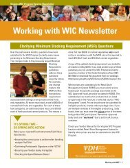 Working with WIC newsletter - Office of Family Health Services