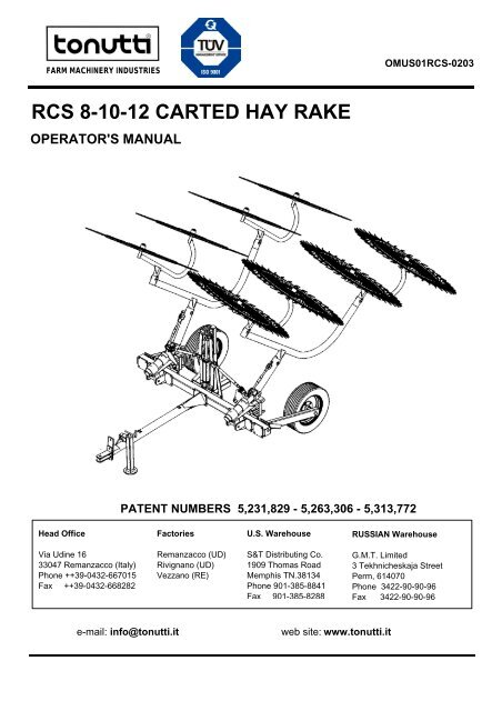 RCS 8-10-12 CARTED HAY RAKE - Edney Distributing Co  Inc