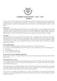 CURRICULUM NOTES – 2012 / 2013 YEAR 4 - Hall Grove School