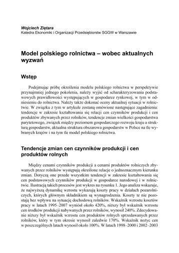Model polskiego rolnictwa – wobec aktualnych wyzwań