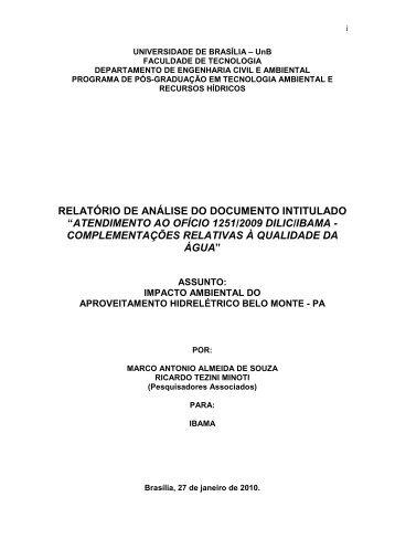 Parecer da UnB sobre Impactos Ambiental do ... - Xingu Vivo