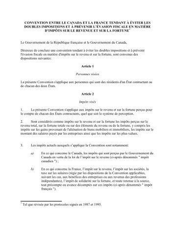 convention fiscale - Association des Québécois en France