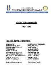 hasan hüseyi̇n memi̇k 1994-1995 - Şişli Rotary Kulübü