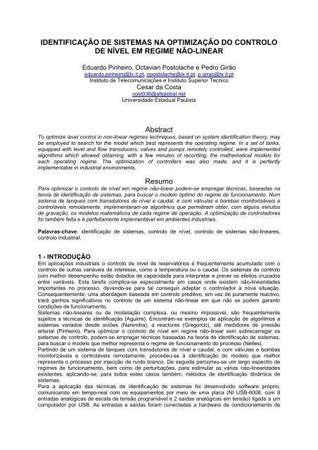 IDENTIFICAÇÃO DE SISTEMAS NA OPTIMIZAÇÃO DO CONTROLO ...