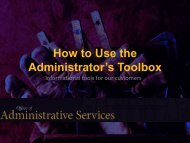 How to Use the Administrator's Toolbox