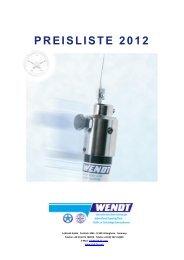 Preisliste A. Wendt GmbH, 21. September 2012