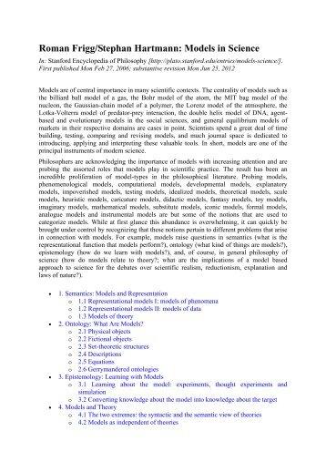Models in Science - Environmental Philosophy Group