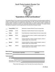 Academic Booster Club Form - South Pointe High School