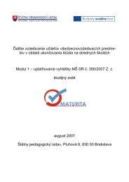Modul č.1 - ŠTUDIJNÝ ZOŠIT - Štátny pedagogický ústav
