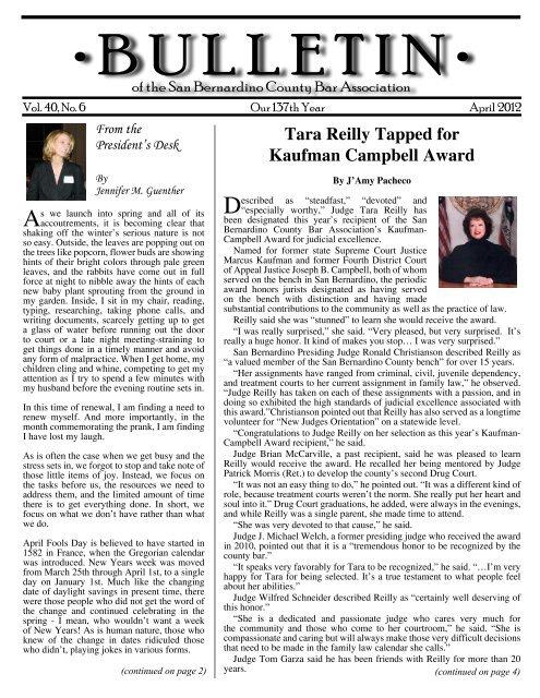April 2012 - San Bernardino County Bar Association