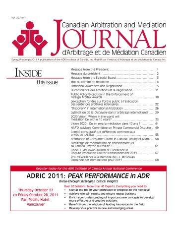 Printemps 2011 - ADR Institute of Canada