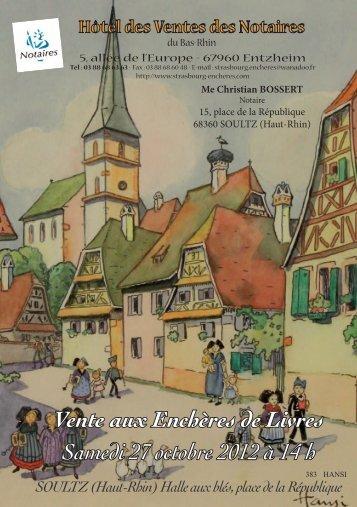 Vente aux Enchères de Livres Samedi 27 octobre 2012 à 14 h