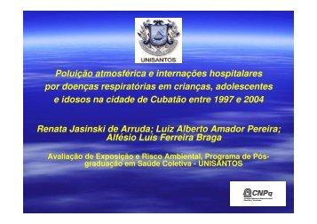 Poluição atmosférica e internações hospitalares por ... - Epi2008