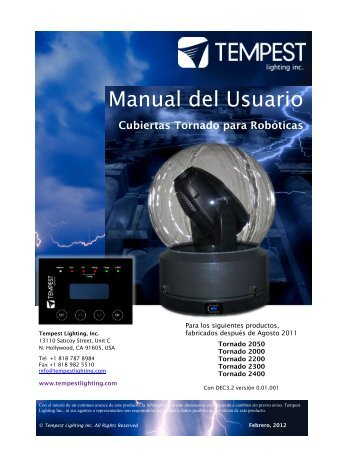 Tornado Manual - Tempest Lighting, Inc.