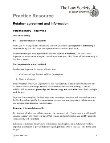 practice resource retainer agreement and information the law