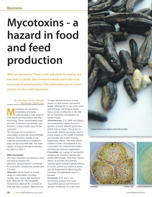 Mycotoxins - a hazard in food and feed production - Romer Labs