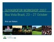 GUYAGROFOR WORKSHOP 2007 Boa Vista Brazil, 23 – 27 October