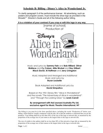 Alice in wonderland jr cast list wild horse theater alice in wonderland jr billing hal leonard australia fandeluxe Gallery