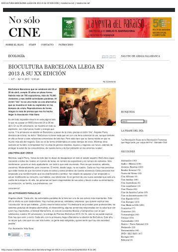 BIOCULTURA BARCELONA LLEGA EN 2013 A SU XX EDICIÓN ...