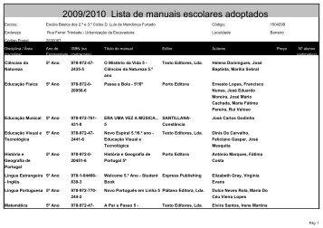 2009/2010 Lista de manuais escolares adoptados - Agrupamento ...