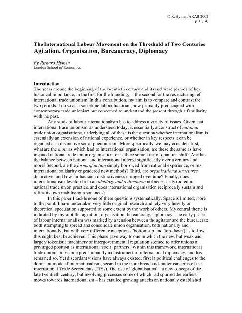 The International Labour Movement on the Threshold of Two ...