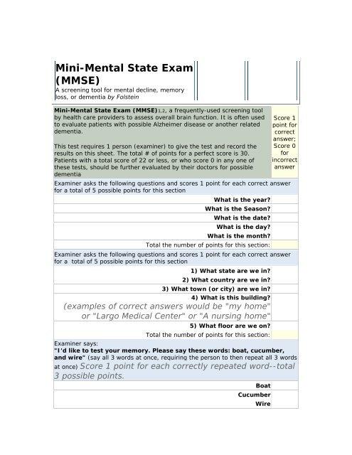Mini Mental Status Exam Mmse Catstcmnotes
