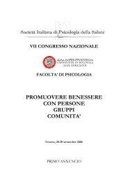 SOCIETA' ITALIANA DI PSICOLOGIA DELLA SALUTE - AIP