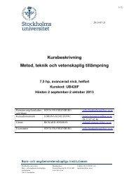 Kursbeskrivning - och ungdomsvetenskapliga institutionen, BUV