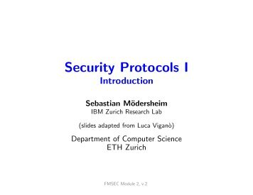 Security Protocols I - Information Security