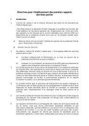 Directives pour la soumission des rapports initiaux