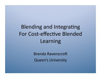 Blending and integrating for cost-effective blended learning - cohere
