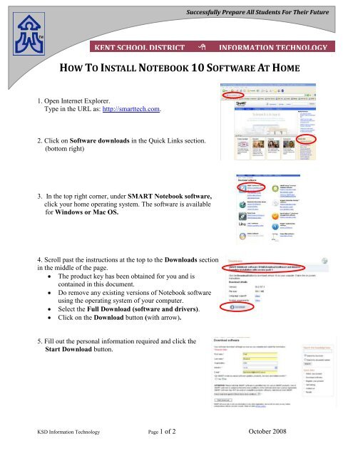 how to install notebook 10software at home - Kent School