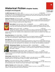 Historical Fiction chapter books. - Lawrence Public Library