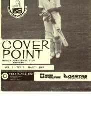 COVER POINT - Weston Creek Cricket Club
