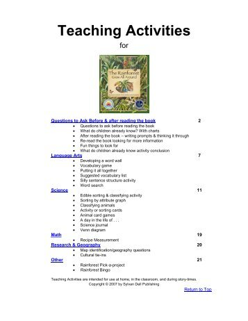 Template for Lesson Plans: - Sylvan Dell Publishing