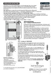 INSTALLATION INSTRUCTIONS - D&D Technologies