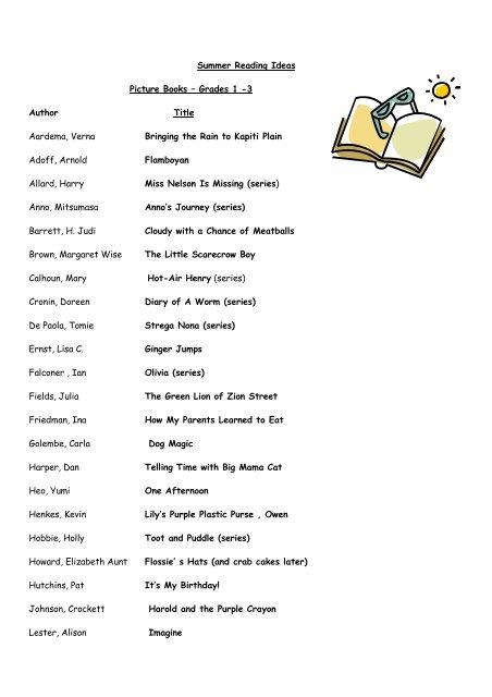Summer Reading Ideas Picture Books – Grades 1 -3 - International ...
