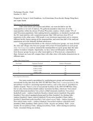 Preliminary Results - Draft October 21, 2010 Prepared by Group 4 ...