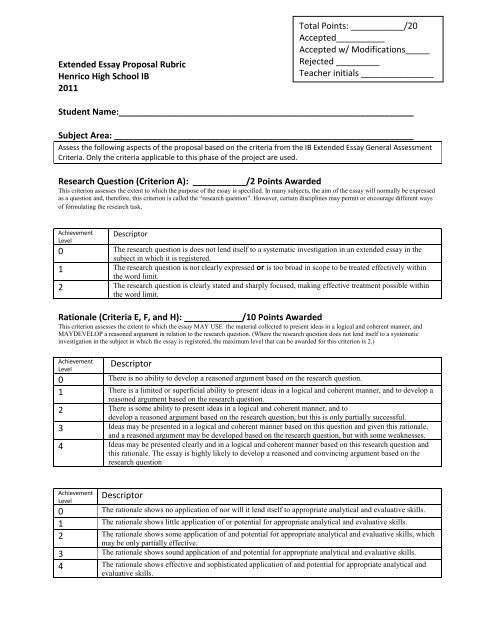 Extended Essay Proposal Rubric Henrico High School IB 2011