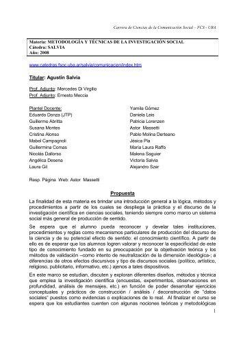 Metodología - Salvia - 2008 - Carrera de Ciencias de la Comunicación
