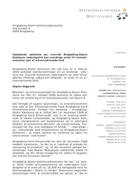 SJ__1_ - 30-08-2010 Vejledende udtalelse - Statsforvaltningen